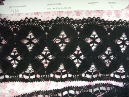 Made in England Genuine Cotton Cluny Lace BLACK - Vintage Pattern 1938
